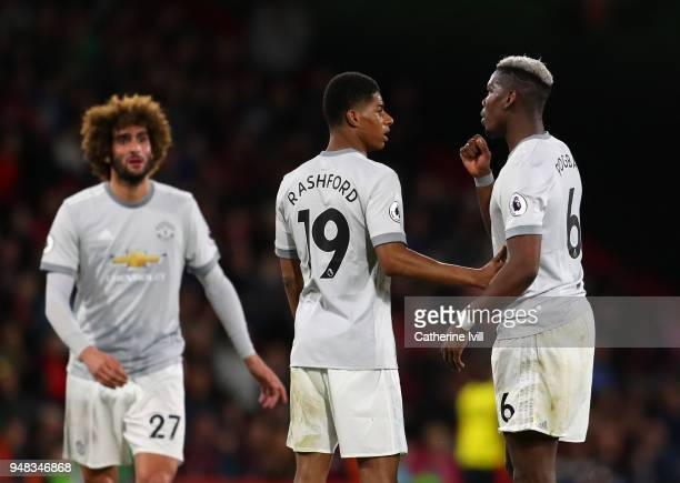 Paul Pogba of Manchester United talks to Marcus Rashford of Manchester United during the Premier League match between AFC Bournemouth and Manchester...