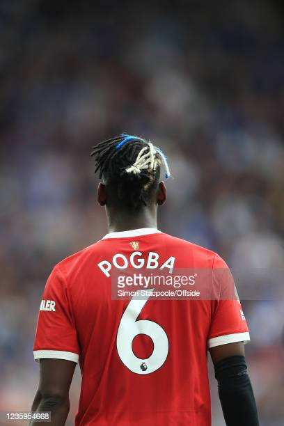 Paul Pogba of Manchester United walks away during the Premier League match between Leicester City and Manchester United at The King Power Stadium on...