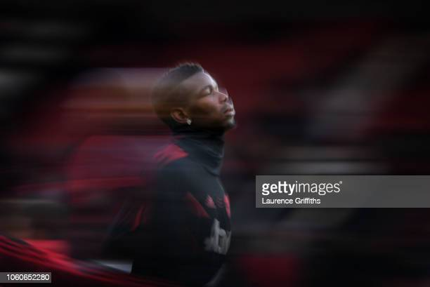 Paul Pogba of Manchester United warms up prior to the Premier League match between Manchester United and Everton FC at Old Trafford on October 28...