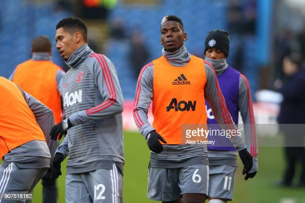 Paul Pogba of Manchester United warms up prior to the Premier League match between Burnley and Manchester United at Turf Moor on January 20 2018 in...