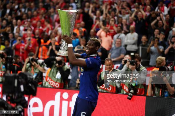 Paul Pogba of Manchester United with the trophy during the UEFA Europa League Final between Ajax and Manchester United at Friends Arena on May 24...