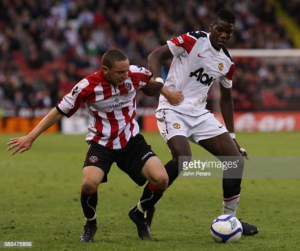 Paul Pogba of Manchester United Youth Team in action during the FA Youth Cup Final First Leg match between Sheffield United Academy Under18 team and...
