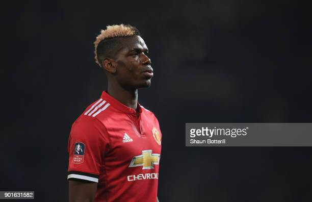 Paul Pogba of Manchester Unitedl during the Emirates FA Cup Third Round match between Manchester United and Derby County at Old Trafford on January 5...