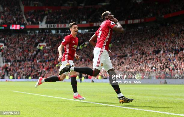 Paul Pogba of Manchester Unitedu celebrates after scoring a goal to make it 20 during the Premier League match between Manchester United and Crystal...