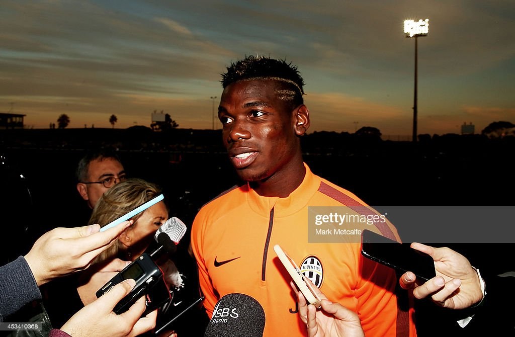 Paul Pogba speaks to the media prior to a Juventus training session at WIN Jubilee Stadium on August 9, 2014 in Sydney, Australia.