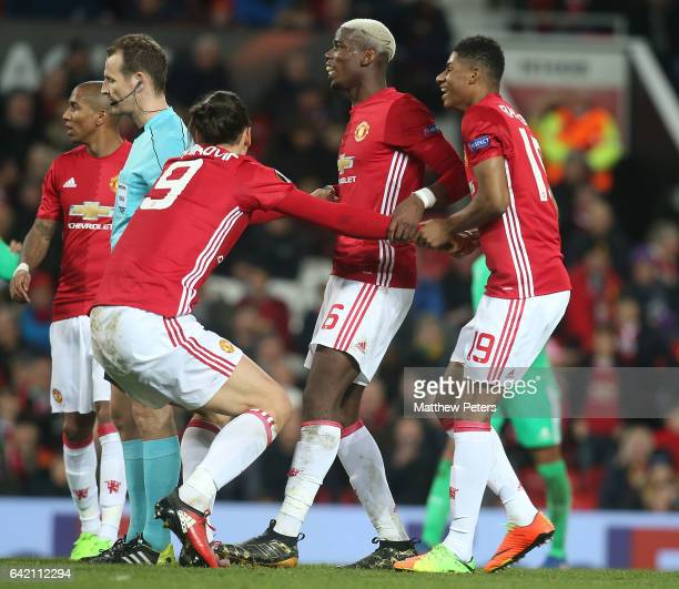 Paul Pogba Zlatan Ibrahimovic and Marcus Rashford of Manchester United in action during the UEFA Europa League Round of 32 first leg match between...