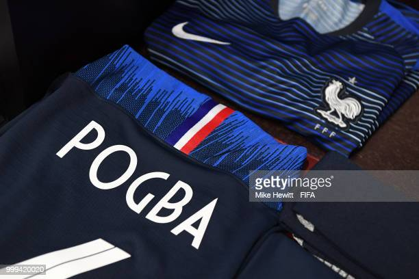 Paul Pogba's kit is seen inside the France dressing room prior to the 2018 FIFA World Cup Final between France and Croatia at Luzhniki Stadium on...