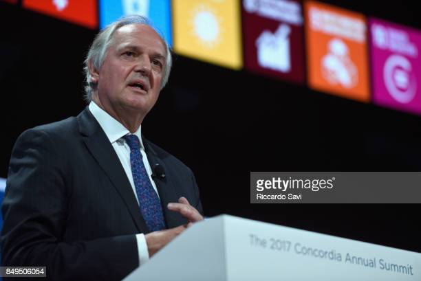 Paul Polman Cheif Executive Officer of Unilever speaks at The 2017 Concordia Annual Summit at Grand Hyatt New York on September 19 2017 in New York...