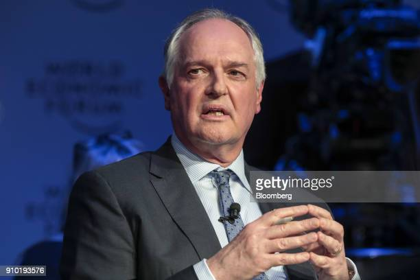 Paul Polman chief executive officer of Unilever Plc gestures as he speaks during a panel session on day three of the World Economic Forum in Davos...
