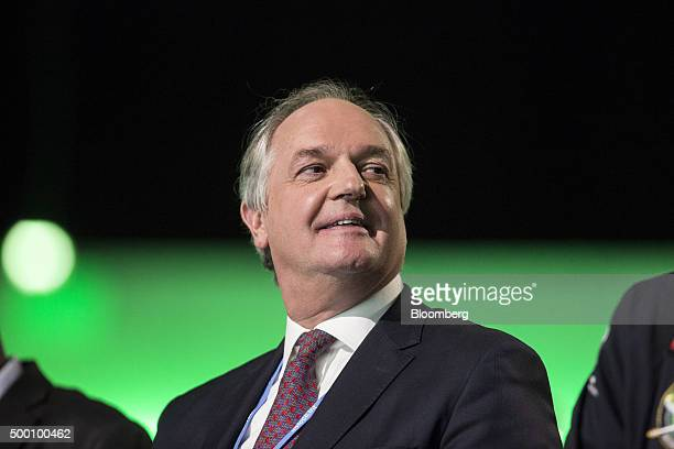 Paul Polman chief executive officer of Unilever Plc reacts during the action day at the United Nations COP21 climate summit at Le Bourget in Paris...