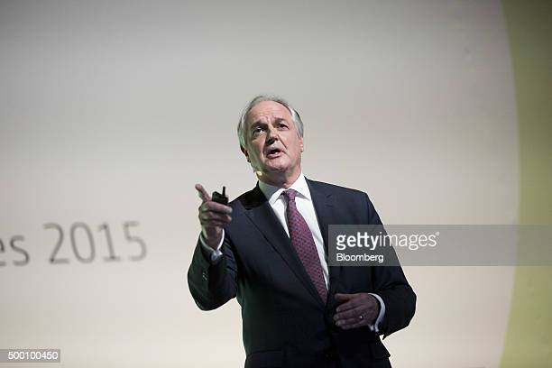 Paul Polman chief executive officer of Unilever Plc speaks during the action day at the United Nations COP21 climate summit at Le Bourget in Paris...