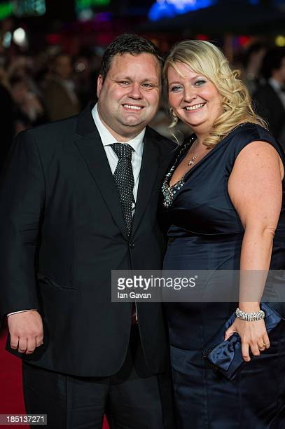 Paul Potts and his wife JulieAnn Potts attend the European premiere of One Chance at The Odeon Leicester Square on October 17 2013 in London England