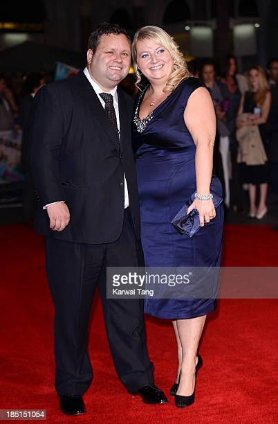 Paul Potts and JulieAnn Potts attend the European premiere of One Chance at the Odeon Leicester Square on October 17 2013 in London England