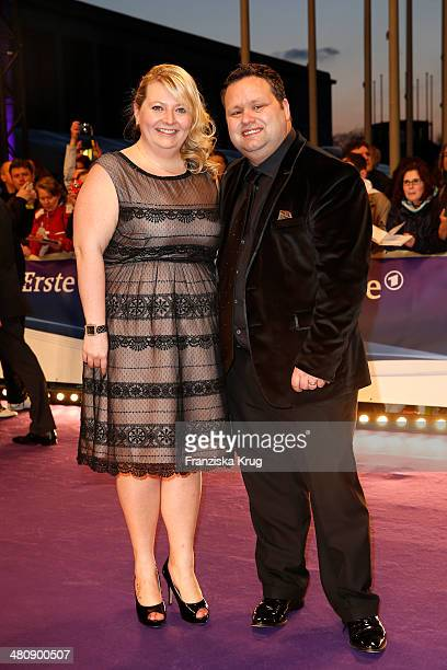 Paul Potts and wife JulieAnn pose on the red carpet prior the Echo award 2014 on March 27 2014 in Berlin Germany