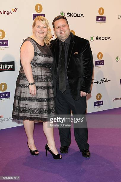 Paul Potts and wife Julie-Ann Potts pose on the red carpet prior the Echo award 2014 at Messe Berlin on March 27, 2014 in Berlin, Germany.