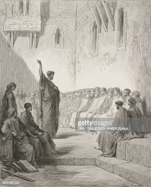 Paul preaches to the Thessalonians engraving by Gustave Dore from The Holy Scriptures containing the Old and New Testaments Translated from The Latin...