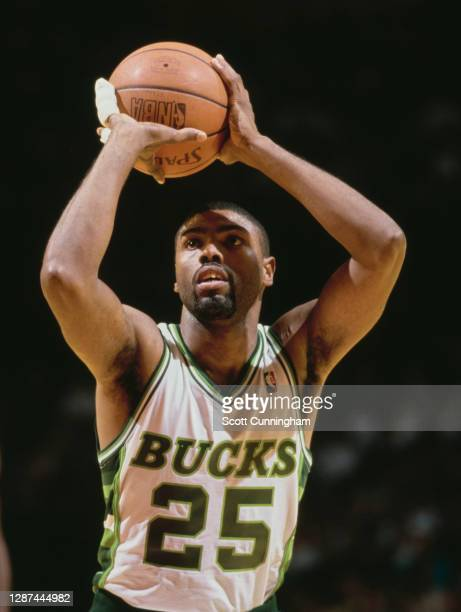 Paul Pressey, Shooting Guard for the Milwaukee Bucks prepares to make a free throw during the NBA Central Division basketball game against the...