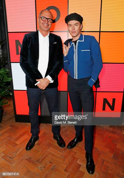 Paul Price and Fletcher Cowan attend the Topman LFWM party at Mortimer House on January 7 2018 in London England