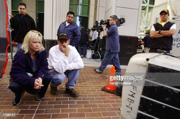 Paul Prince and Heidi Burke watch deliberations in the death penalty hearing for David Westerfield outside the Superior Courthouse January 3 2002 in...