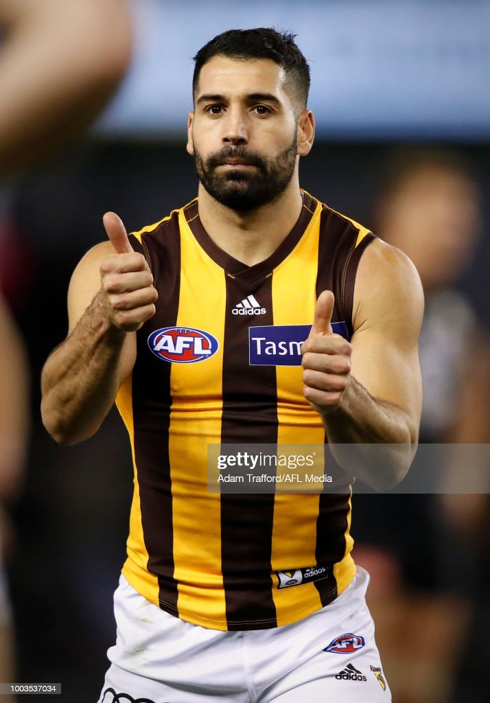 Paul Puopolo of the Hawks celebrates a goal during the 2018 AFL round 18 match between the Carlton Blues and the Hawthorn Hawks at Etihad Stadium on July 22, 2018 in Melbourne, Australia.