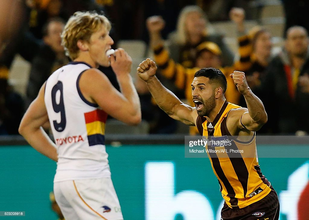 Paul Puopolo of the Hawks celebrates after kicking the winning goal during the 2016 AFL Round 05 match between the Hawthorn Hawks and the Adelaide Crows at the Melbourne Cricket Ground on April 22, 2016 in Melbourne, Australia.