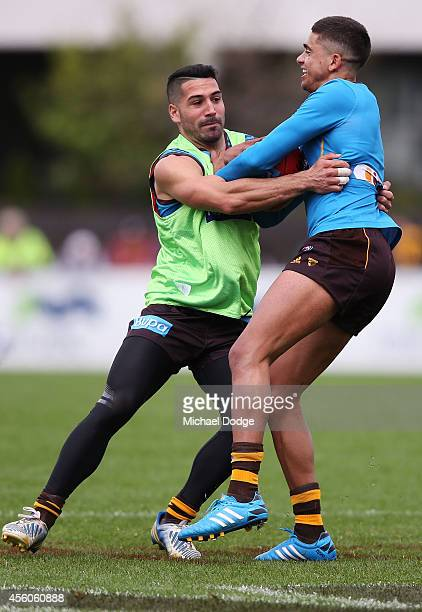 Paul Puopolo tackles Brad Hill during a Hawthorn Hawks AFL training session at Waverley Park on September 25 2014 in Melbourne Australia