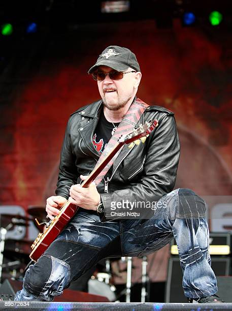 Paul Quinn of Saxon performs on stage at Knebworth House on August 2, 2009 in Stevenage, England.