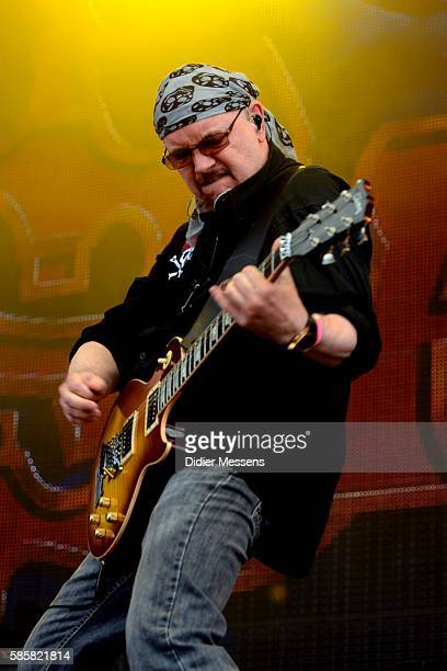 Paul Quinn of Saxon performs on stage during the second day of the Wacken Open Air festival on August 4 2016 in Wacken Germany