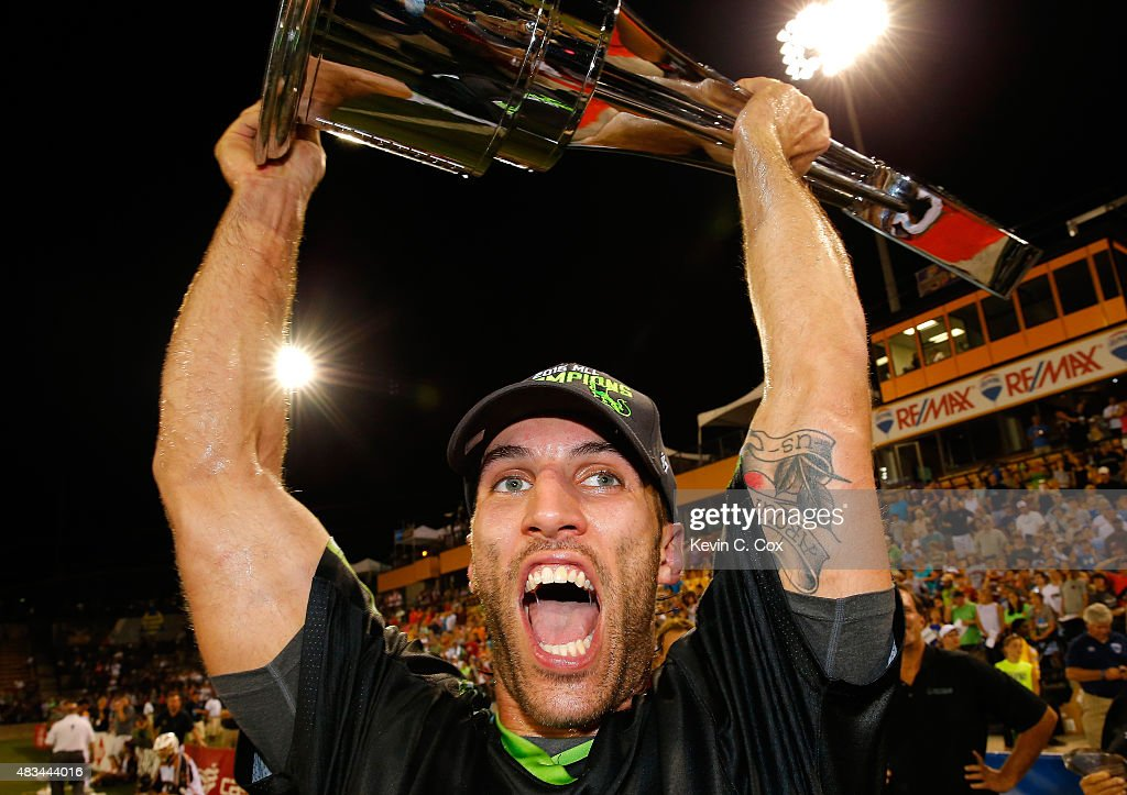 Paul Rabil #99 of the New York Lizards celebrates after their 15-12 win over the Rochester Rattlers during the 2015 Major League Lacrosse Championship Game at Fifth Third Bank Stadium on August 8, 2015 in Kennesaw, Georgia.