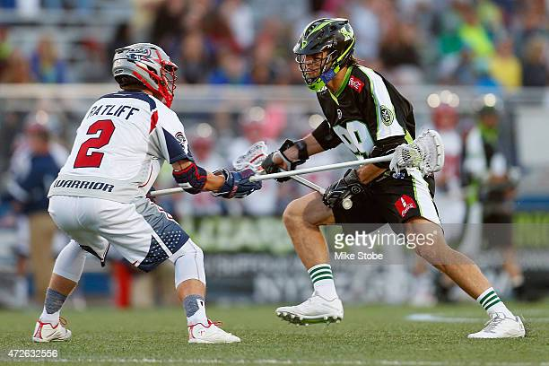 Paul Rabil of the New York Lizards handles the ball against Scott Ratliff of the Boston Cannons at James M. Shuart Stadium on May 8, 2015 in...