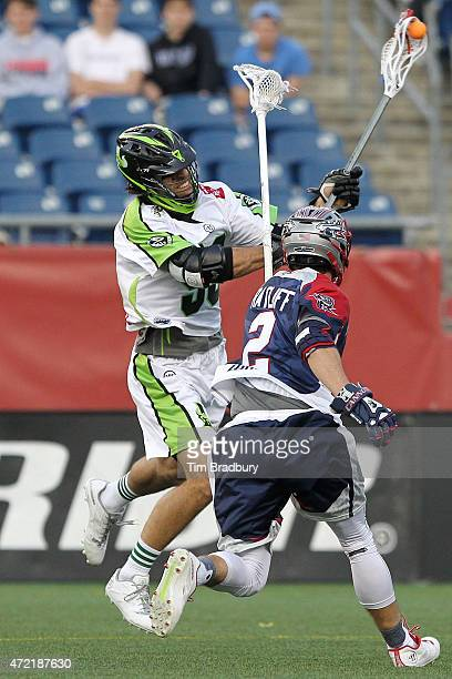 Paul Rabil of the New York Lizards shoots the ball against Scott Ratliff of the Boston Cannons at Gillette Stadium on May 3, 2015 in Foxboro,...