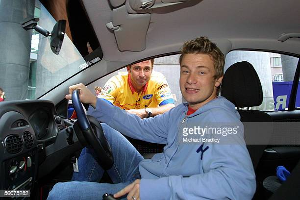 Paul Radisich and Jamie Oliver at Sky City in a replica of Pauls car prior to this weekends Boost Mobile V8 motor race for Paul Radisich and Jamie...