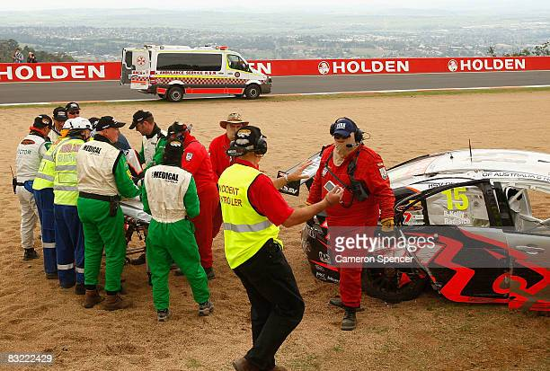 Paul Radisich of the HSV Dealer Team is stretchered to an ambulance after crashing during practice for the Bathurst 1000 round 10 of the V8 Supercars...