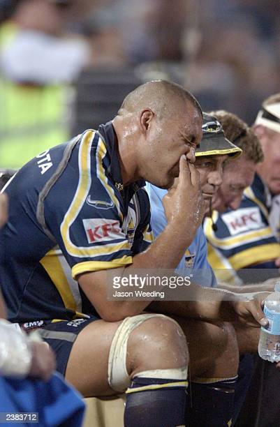 Paul Rauhihi of the Cowboys in misery after the cowboys were defeated 6024 during the round 22 NRL match between the North Queensland Cowboys and the...