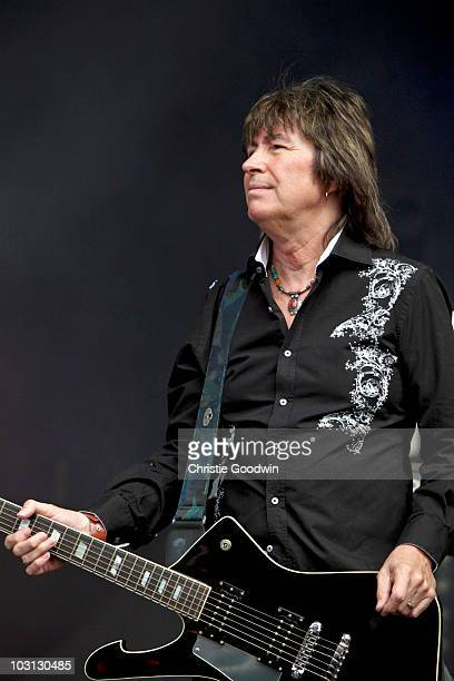 Paul Raymond of UFO performs on stage on Day 2 of High Voltage Festival at Victoria Park on July 25 2010 in London England