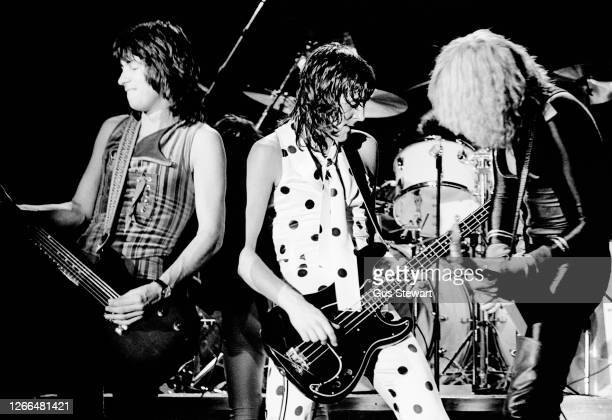 Paul Raymond Pete Way and Michael Schenker of UFO perform on stage at Hammersmith Odeon London England on June 28th 1978