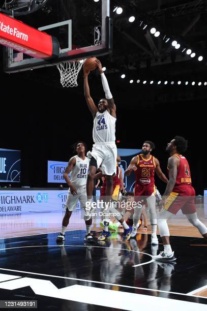 Paul Reed of the Delaware Blue Coats goes to the basket against the Canton Charge on March 3, 2021 at AdventHealth Arena in Orlando, Florida. NOTE TO...