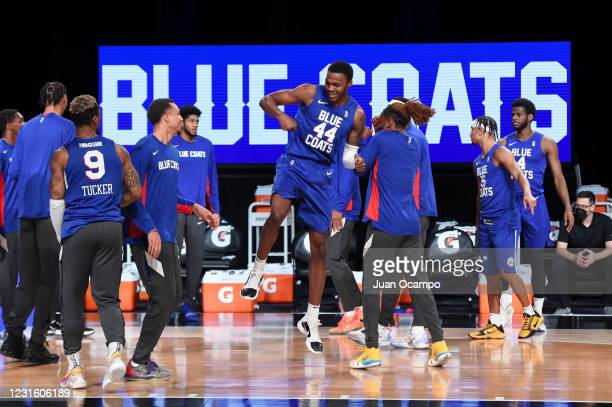 Paul Reed of the Delaware Blue Coats is introduced before the game against the Austin Spurs during the NBA G League Playoffs on March 8, 2021 at...