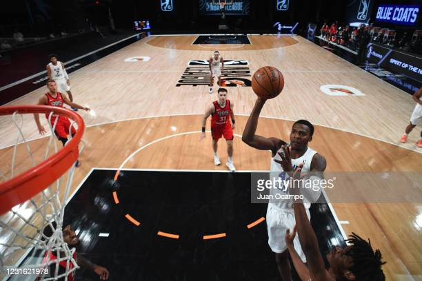 Paul Reed of the Delaware Blue Coats shoots the ball against the Raptors 905 during the NBA G League Playoffs on March 9, 2021 at AdventHealth Arena...