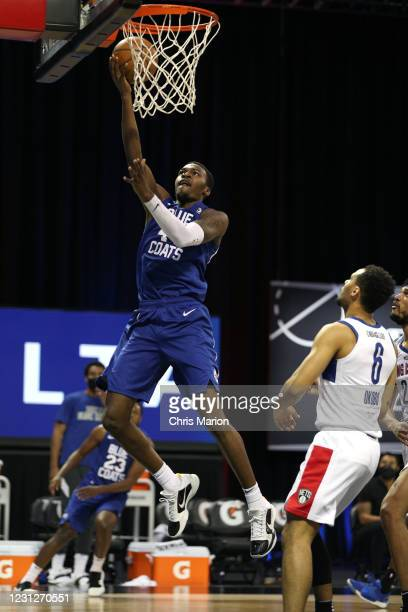 Paul Reed of the Delaware Blue Coats shoots the ball against the Long Island Nets on February 19, 2021 at HP Field House in Orlando, Florida. NOTE TO...