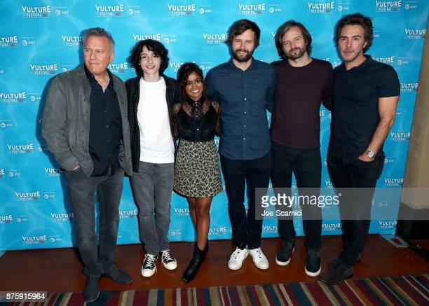 Paul Reiser Finn Wolfhard Linnea Berthelsen Matt Duffer Ross Duffer and Shawn Levy attend 'Stranger Things The Final Season' panel during Vulture...