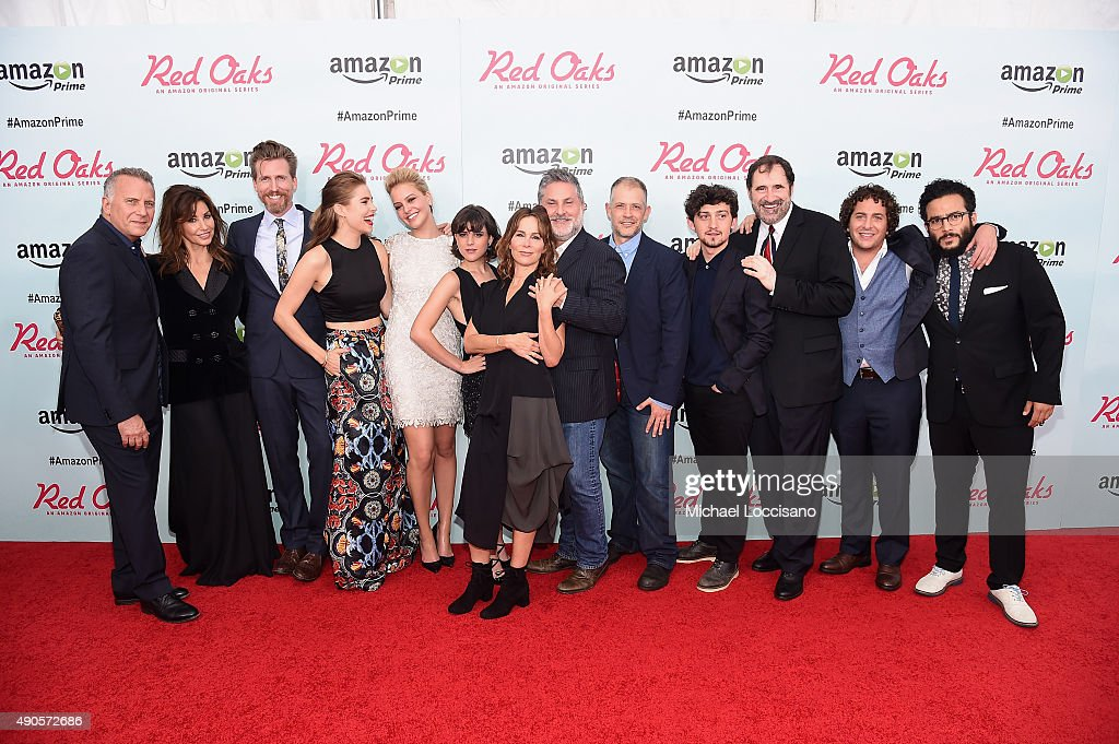 Paul Reiser, Gina Gershon, Josh Meyers, Alexandra Tershen, Gage Golightly, Alexandra Socha, Jennifer Grey, Gregory Jacobs, Joseph Gangemi, Craig Roberts, Richard Kind, Oliver Cooper and Ennis Esmer attend the Amazon red carpet premiere for the brand new original comedy series 'Red Oaks' on September 29, 2015 in New York City.