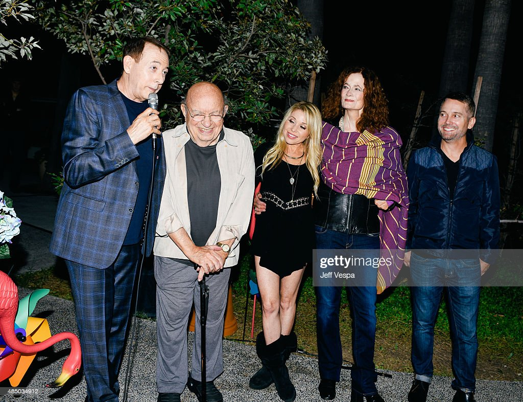Paul Reubens, Lou Cutell, E.G. Daily, Diane Salinger, and Damon Martin attend Pee-wee's Big Adventure 30th anniversary screening at Hollywood Forever on August 22, 2015 in Hollywood, California.