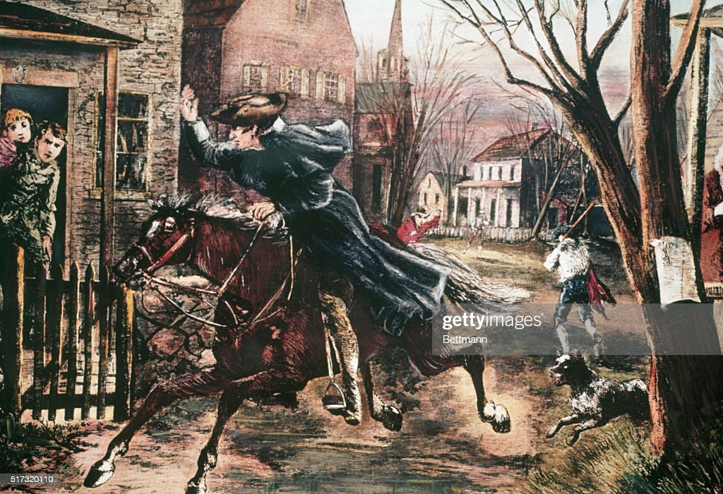Paul Revere rides through the streets of Boston in order to warn the American forces of British troop movements. People look out the doors of their homes.
