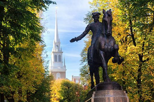 Paul revere Statue and the Old North Church, Boston, Massachusetts 1163936233