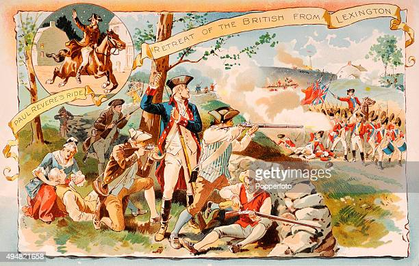 Paul Revere's Ride to warn the American colonists of the landing of British troops on 18th April 1775 and their retreat at the Battle of Lexington in...
