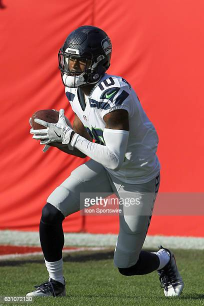 Paul Richardson of the Seahawks warms up before the NFL Game between the Seattle Seahawks and Tampa Bay Buccaneers on November 27 at Raymond James...