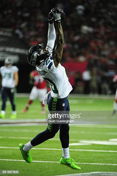 Paul Richardson of the Seattle Seahawks catches a pass against the Atlanta Falcons at the Georgia Dome on January 14 2017 in Atlanta Georgia