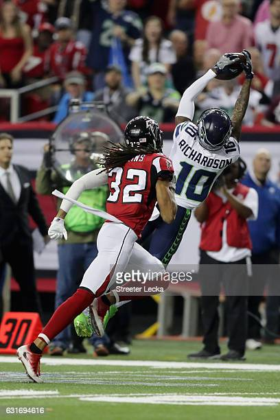 Paul Richardson of the Seattle Seahawks catches the ball against Jalen Collins of the Atlanta Falcons at the Georgia Dome on January 14 2017 in...