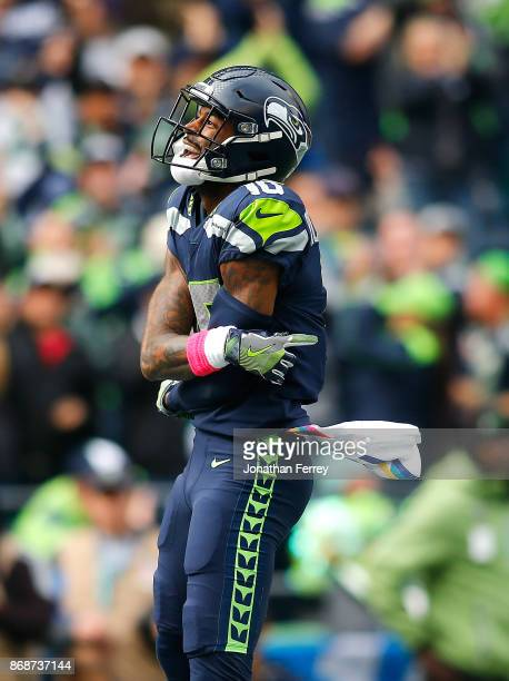 Paul Richardson of the Seattle Seahawks celebrates a touchdown against the Houston Texans at CenturyLink Field on October 29 2017 in Seattle...